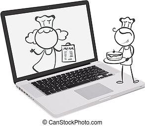Ein Laptop mit einem Bild von Küchenchefs