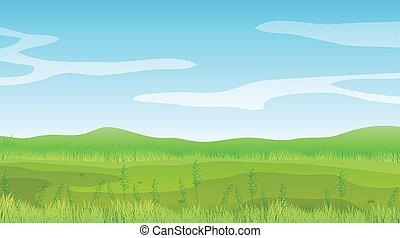 Ein leeres Feld unter einem klaren blauen Himmel