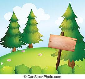 Ein leeres Holzschild im Wald