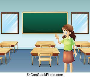 Ein Lehrer im leeren Klassenzimmer