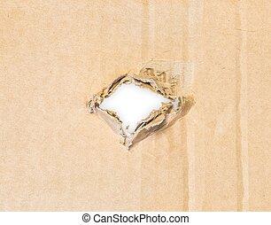 Ein Loch in Papppapier.