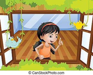 Ein Mädchen am Fenster mit Vögeln