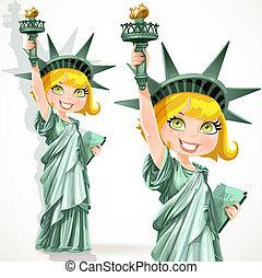 Ein Mädchen, angezogen wie die Statue Freiheit