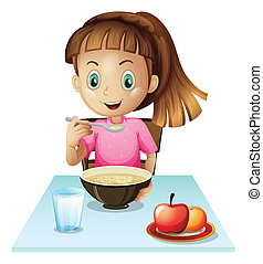 Ein Mädchen, das Frühstück isst.