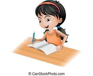 Ein Mädchen, das schreibt