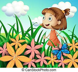 Ein Mädchen im Garten mit Schmetterlingen und Blumen