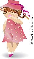 Ein Mädchen in einem roten Kleid und Hut riecht Blumen.