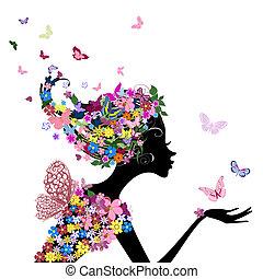 Ein Mädchen mit Blumen und Schmetterlingen