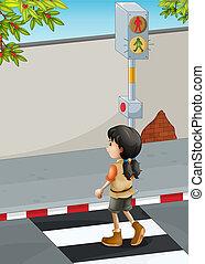 Ein Mädchen mit braunen Schuhen überquert die Straße