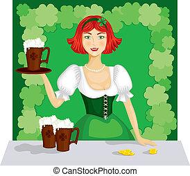 Ein Mädchen mit einem Becher Bier