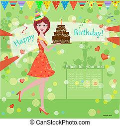 Ein Mädchen mit einem Geburtstagskuchen für dein Design