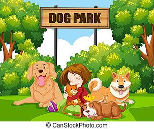 Ein Mädchen mit Haustier im Park.