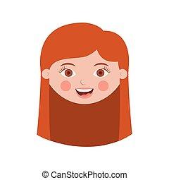 Ein Mädchen mit langem Haar.