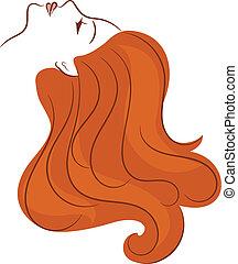 Ein Mädchen mit langen Haaren