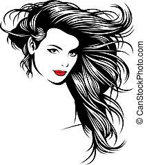 Ein Mädchen mit schönen Haaren aus meiner Fantasie
