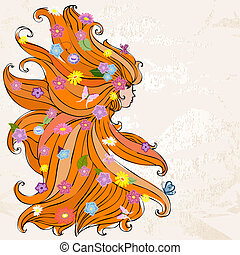 Ein Mädchen mit schönen Haaren und Blumen
