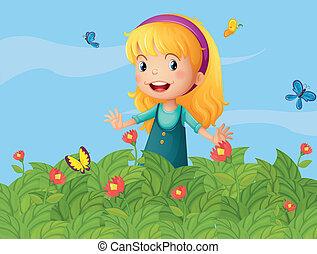 Ein Mädchen mit Schmetterlingen im Garten