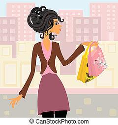 Ein Mädchen mit Shopping