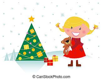 Ein Mädchen mit Weihnachtsbaum