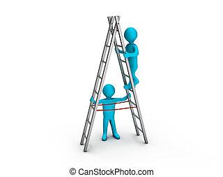 Ein Mann auf der Leiter und ein anderer hilft ihm