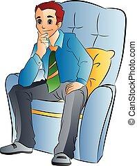 Ein Mann, der auf einem weichen Stuhl sitzt, illustriert
