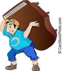 Ein Mann, der ein Klavier hebt, illustriert