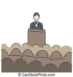 Ein Mann, der eine öffentliche Rede hält.