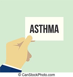 Ein Mann, der einen ASTHMA-Text zeigt