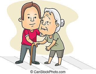 Ein Mann, der einer alten Dame über die Straße hilft