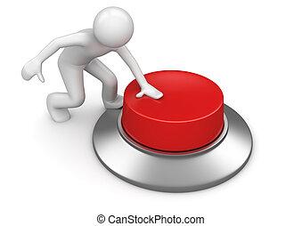 Ein Mann, der rote Notknopf drückt