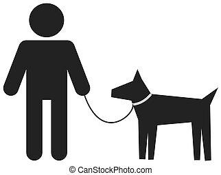 Ein Mann, der seinen Hund führt.