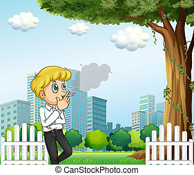 Ein Mann, der während seiner Pause raucht.