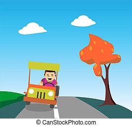 Ein Mann fährt ein Auto.