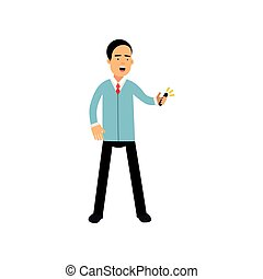 Ein Mann in einem formellen Verschleiß mit Smartphone, Mann mit elektronischem Gerät Vektor Illustration.