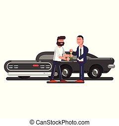 Ein Mann kauft ein Auto