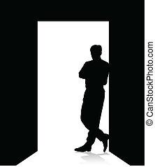 Ein Mann lehnt sich an die Tür