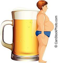 Ein Mann mit Bierbauch.