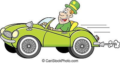 Ein Mann mit einem Derby fährt ein Auto.