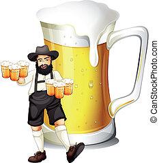 Ein Mann mit einem Glas voller Bier