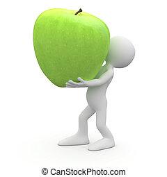 Ein Mann mit einem riesigen grünen Apfel