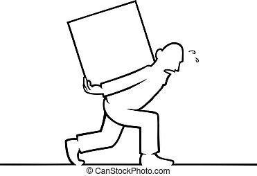Ein Mann mit einer schweren Kiste auf dem Rücken.