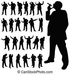 Ein Mann mit einer Zigarette in verschiedenen Posen schwarze Silhouette