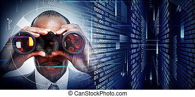 Ein Mann mit Fernglas im Techno-Hintergrund.