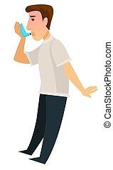 Ein Mann mit Inhalatorgerät, um sich von Asthma zu erholen.