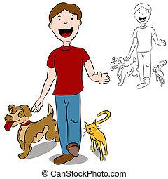 Ein Mann mit seinen Haustieren im Park