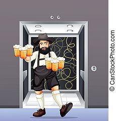 Ein Mann mit Tassen Bier