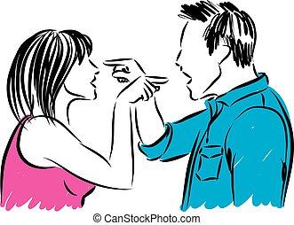 Ein Mann und eine Frau streiten sich.