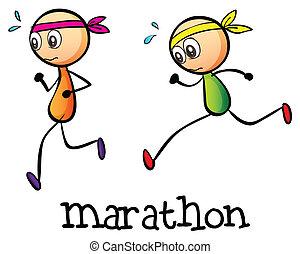 Ein Marathon zwischen zwei Aufklebern.