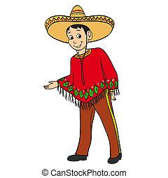 Ein mexikanischer Cartoon-Junge in einem Tresen