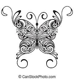 Ein Monochrome-Tattoo-Falter